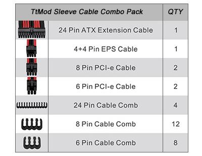 /Cable alargador para alimentaci/ón con Extra Sleeves/ /Negro//Rojo upHere Thermaltake ttmod Sleeved Cable/
