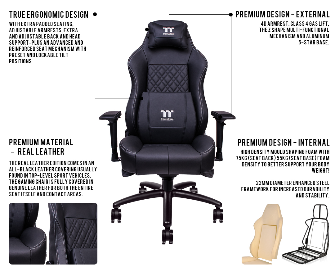 ... Which Ensures An Upright And Simultaneously Very Comfortable Sitting  Posture, Providing The X COMFORT Real Leather Gaming Chair With The Perfect  Mix Of ...